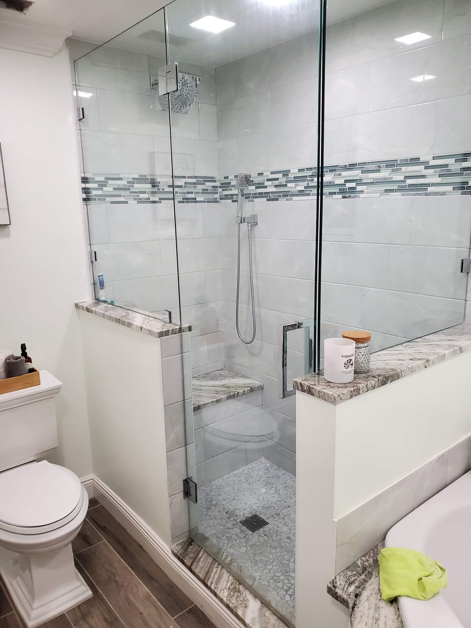 remodeled walk in shower and bathtub master bath