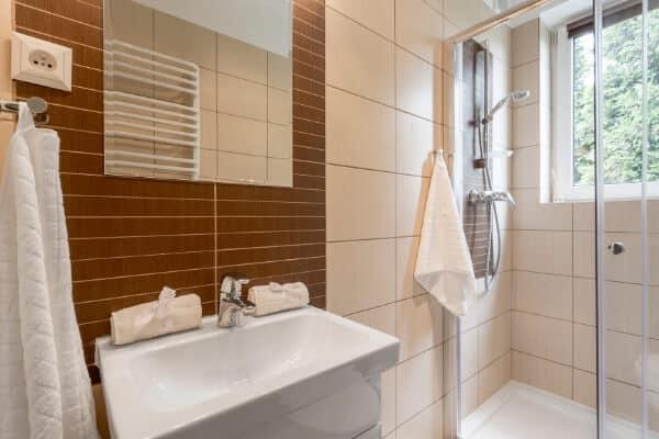 bathroom remodeling ideas with towel rack & shower