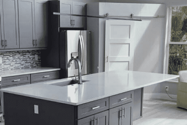 kitchen island with faucet