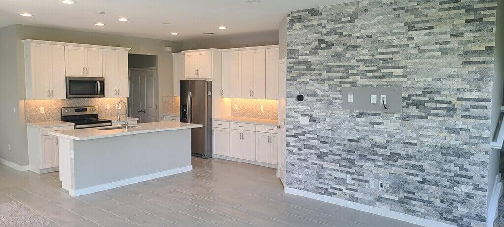 Beautiful Custom Kitchen Floors backsplash and Island